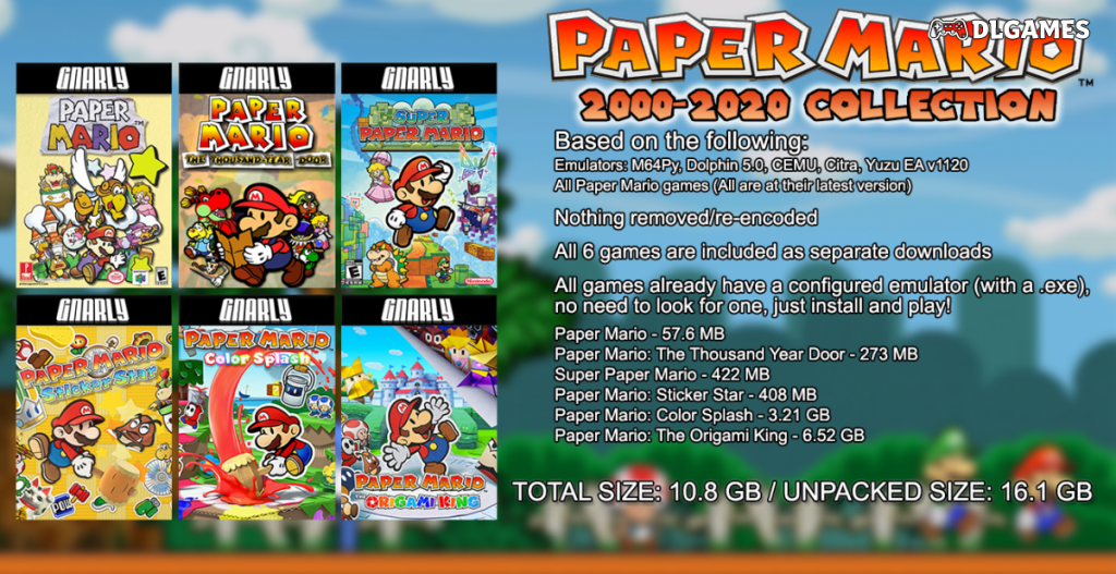 Paper Mario Collection (2000-2020) (+M64Py, Dolphin, CEMU, Citra, Yuzu) [Gnarly Repacks]